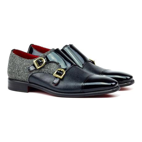 Patterned Double Monk Strap Shoe // Black