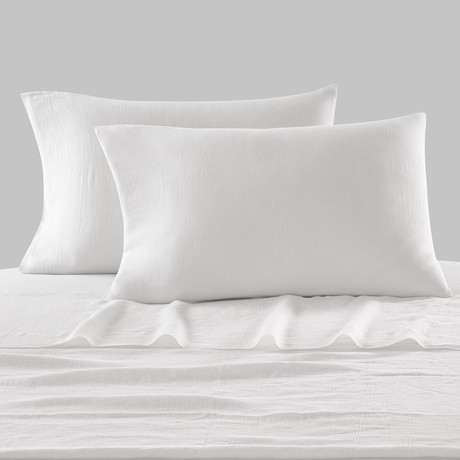 Lino Bedding // Pillowcases // Set of 2 // White (Standard)