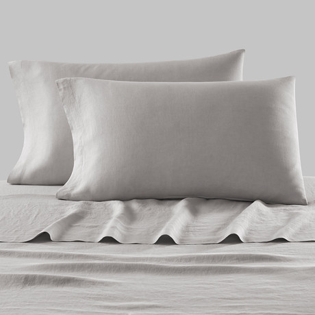 Lino Bedding // Pillowcases // Set of 2 // Grey + White (Standard)