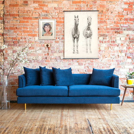 Margot Sofa (Oxford Zinc // Black Finish)