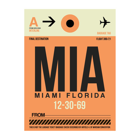 MIA Miami Luggage Tag