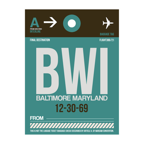 BWI Baltimore Luggage Tag
