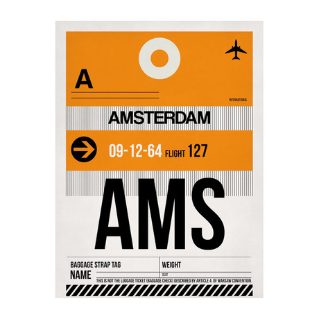 AMS Amsterdam Luggage Tag