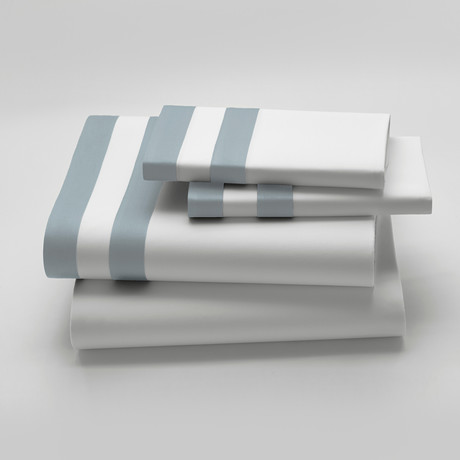 Amalfi // Bedsheet // White + Light Blue (Fitted Queen)