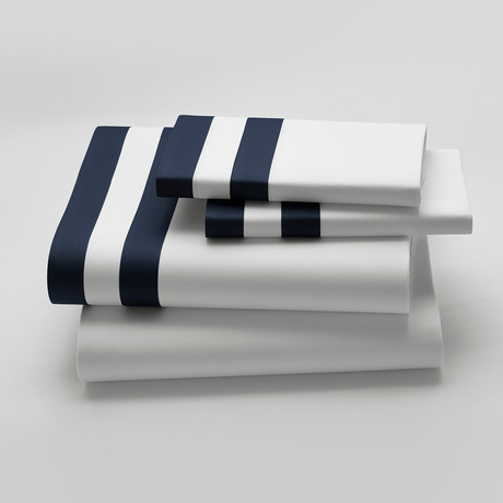 Amalfi // Bedsheet // White + Navy (Fitted King)
