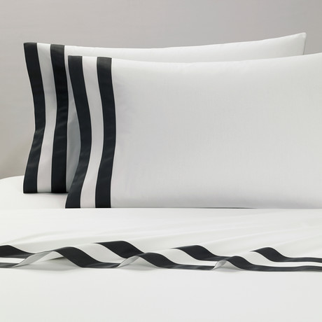 Amalfi // Pillowcases // White + Grey // Set of 2 (Standard)
