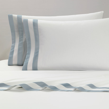 Amalfi // Pillowcases // White + Light Blue // Set of 2 (Standard)