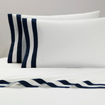 Amalfi // Pillowcases // White + Navy // Set of 2 (King)