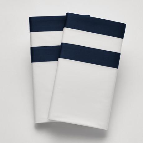 Amalfi // Sham // White + Navy (Standard)