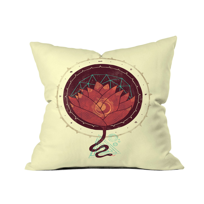 Modern Lotus Pillow : The Red Lotus Throw Pillow (18