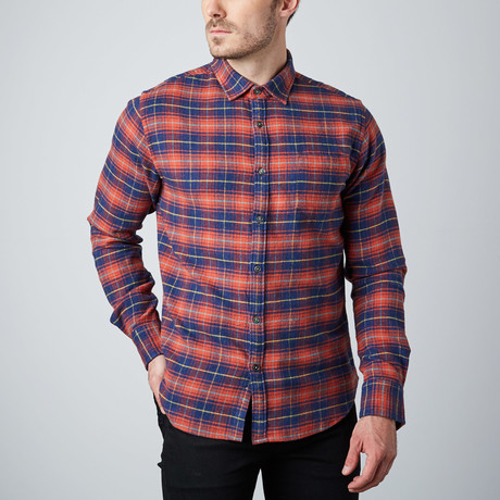 Long-Sleeve Yarn-Dyed Shirt // Red + Blue Check