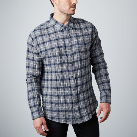Long-Sleeve Yarn-Dyed Shirt // Grey Check