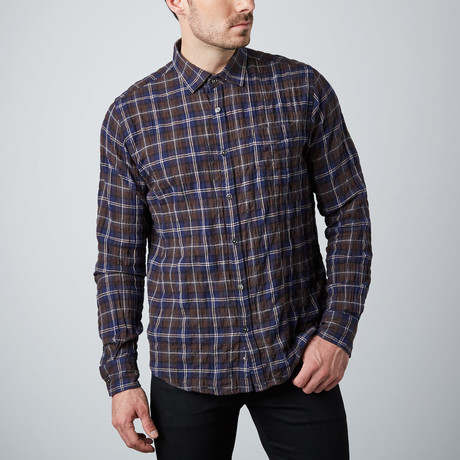 Long-Sleeve Yarn-Dyed Shirt // Brown Check