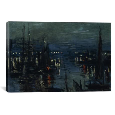 """The Port of Le Havre, Night Effect (Le Port de Havre, effet du Nuit), 1873 // Claude Monet (40""""W x 26""""H x 1.5""""D)"""