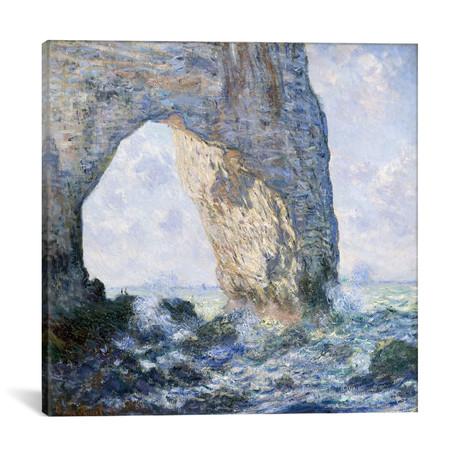 """Rock Arch West of Etretat (The Manneport) // Claude Monet // 1883 (18""""W x 18""""H x 0.75""""D)"""