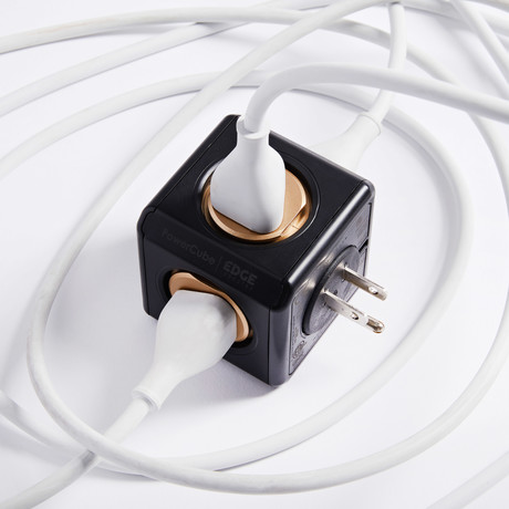 Edge Industry // PowerCube Original USB Surge Protected // Black + Gold // Limited Edition
