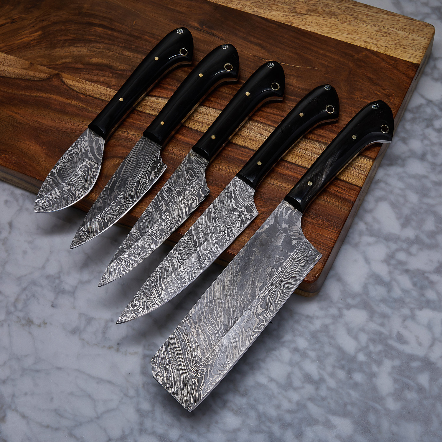 Handmade damascus kitchen knife 5 piece set kch 18 for Kitchen devil knife set 9