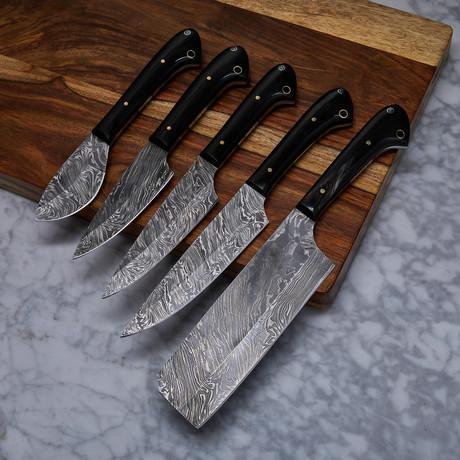 Handmade Damascus Kitchen Knife // 5 Piece Set // KCH-18