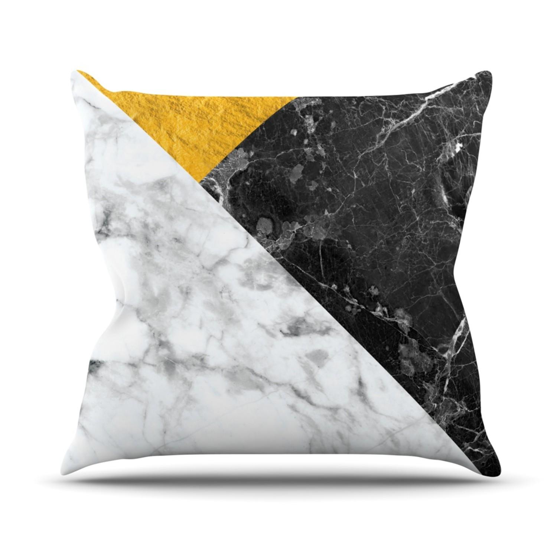 Throw Pillows 26 X 26 : Geo Marble + Gold // Throw Pillow (26