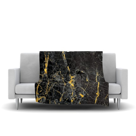 Gold Fleck Black Marble // Fleece Blanket