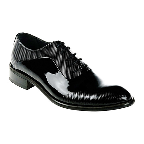 Patent Leather Textured Oxford // Black