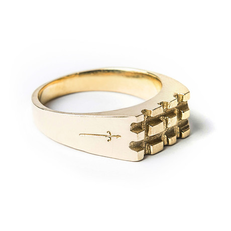 Geometric Stamp Ring // Gold