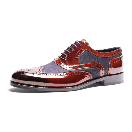 Semi-Brogue Wingtip Oxford // Bordeaux + Dark Blue