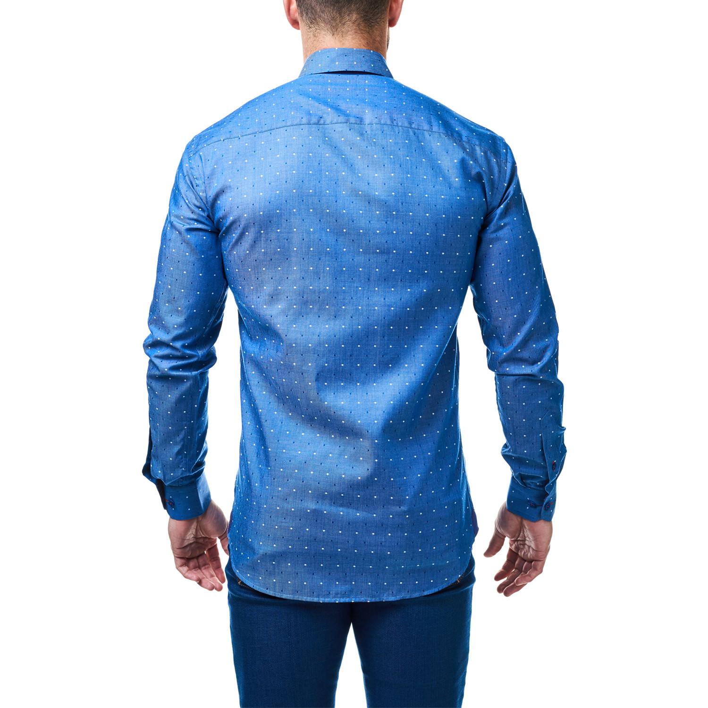 Vogue polka dot dress shirt blue white s maceoo for Blue white dress shirt
