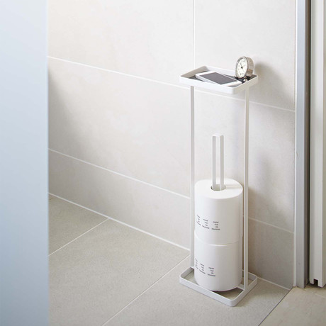 Tower // Toilet Paper Stand + Tray (White)