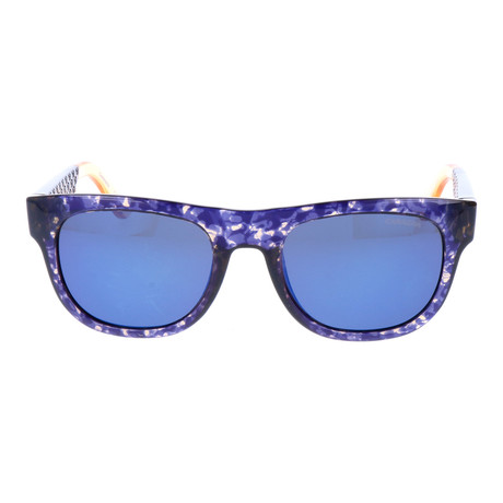 Clear Speckle Thick Rim Wayfarer // Blue