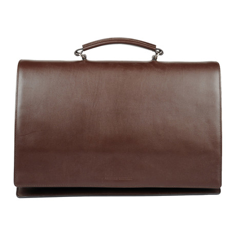 Saffiano Leather Flap Briefcase // Brown