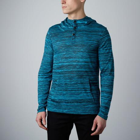 Long-Sleeve Hooded Henley // Turquoise