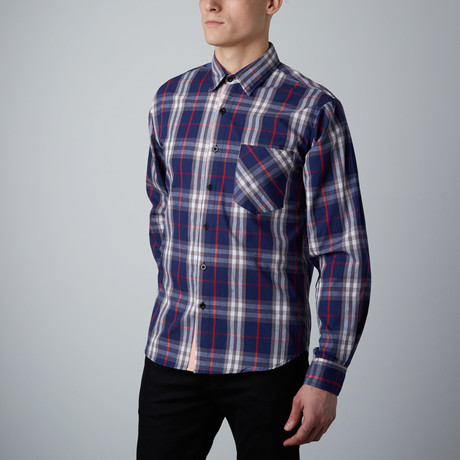 Long-Sleeve Plaid Shirt // Blue + Red