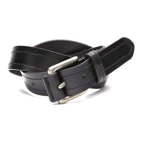 "Covered Buckle Casual Belt // Black (32"" Waist)"