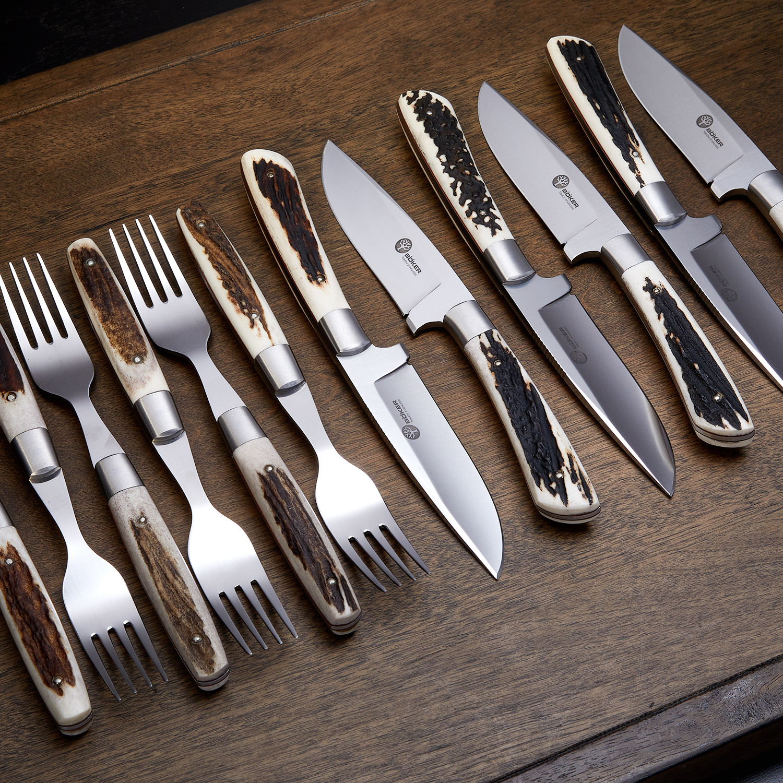 Arbolito stag steak knife fork set of 12 boker touch of modern - Knives and forks sets ...