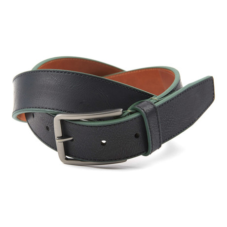 "Contrast Color Tab Casual Belt // Black + Olive (36"" Waist)"