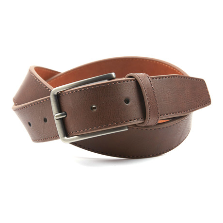 "Contrast Color Tab Casual Belt // Brown + Tan (38"" Waist)"