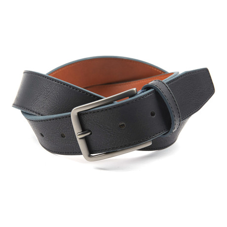 "Contrast Color Tab Casual Belt // Black + Navy (36"" Waist)"