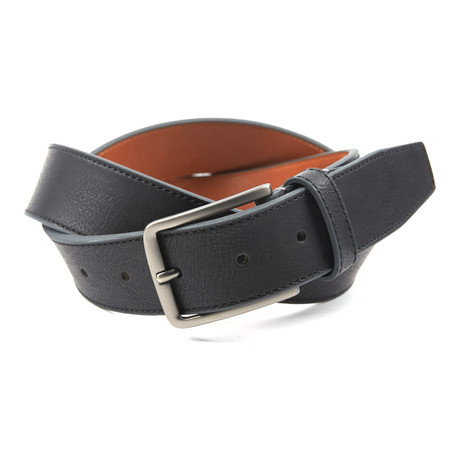 "Contrast Color Tab Casual Belt // Black + Grey (36"" Waist)"