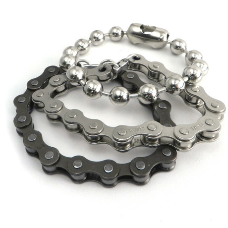 Bike + Ball Chain Bracelet // Set of 3