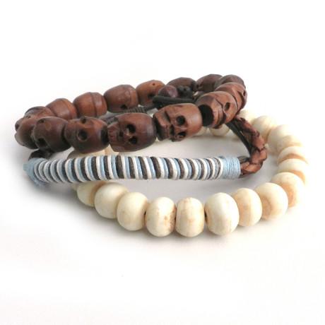 Skull + Bone Bracelets // Set of 3