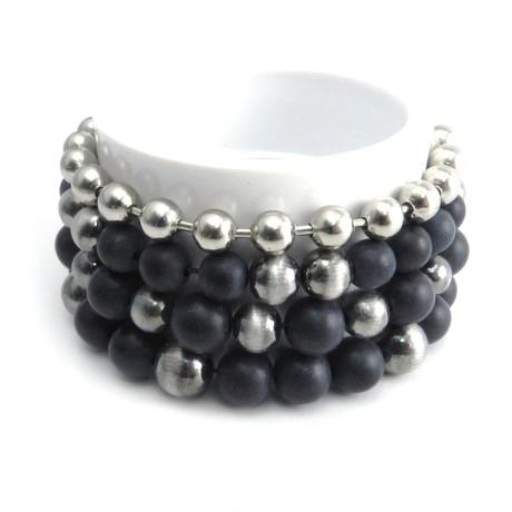 Rocker Distressed Bead + Ball Bracelets // Set of 4