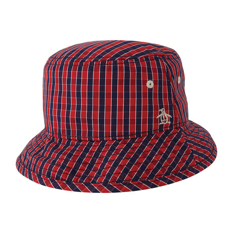 Mini Check Bucket Hat // Umbrella Red