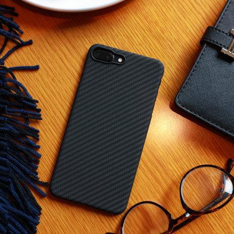 Aramid Fiber Minimalist Phone Case // Black + Grey Twill