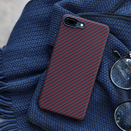 Aramid Fiber Minimalist Phone Case // Black + Red Twill