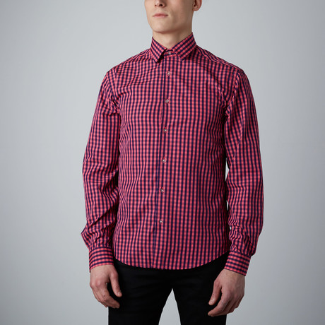 Tory Check Button-Up // Pink + Navy (S)