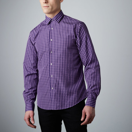 Tory Check Button-Up // Purple + Aubergine (S)