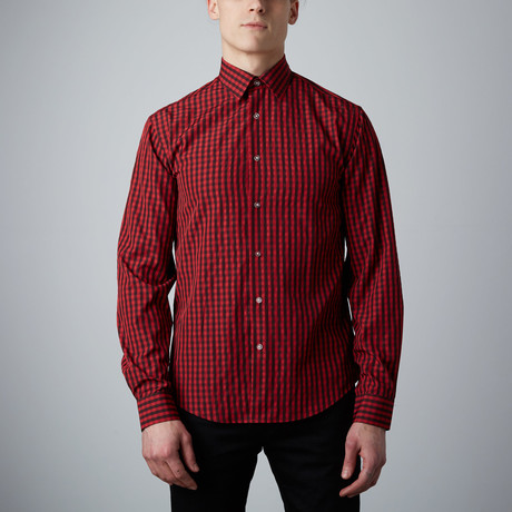 Tory Check Button-Up // Red + Black (S)