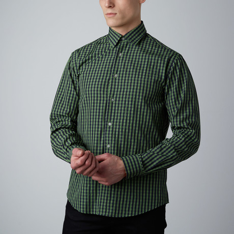 Tory Check Button-Up // Green + Navy (S)