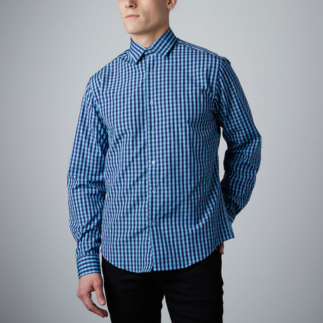 Tory Check Button-Up // Light Blue + Navy (S)